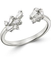 Bloomingdale's - Baguette Diamond Open Ring In 14k White Gold - Lyst