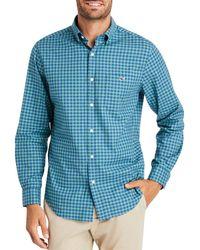 Vineyard Vines Twill Tucker Check Print Classic Fit Button - Down Shirt - Blue