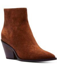 PAIGE Libby Pointed Toe Block Heel Booties - Brown