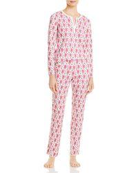Roberta Roller Rabbit Cotton Monkeys Print Pajamas Set - Pink