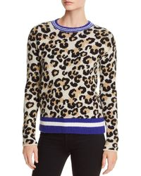 Aqua - Striped-trim Leopard Print Jumper - Lyst