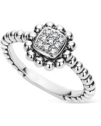 Lagos Sterling Silver Caviar Spark Diamond Square Ring - Metallic