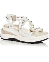 Ash Sunny Studded Platform Wedge Sandals - White