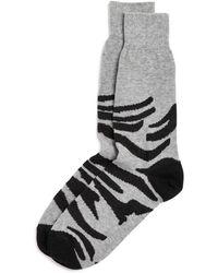 Bloomingdale's Zebra Socks - Grey