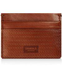 Shinola Embossed Card Case - Brown