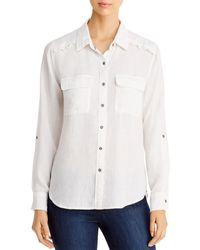 Billy T Ruffled Button - Back Shirt - White