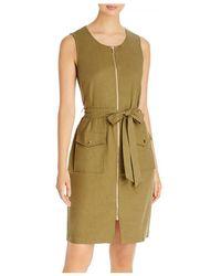 T Tahari Belted Zip Front Dress - Green