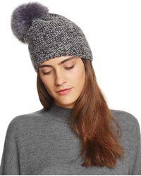 Kyi Kyi Slouchy Hat With Fox Fur Pom - Pom - Gray