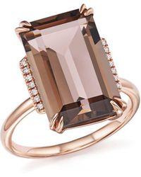 Bloomingdale's Smoky Quartz And Diamond Ring In 14k Rose Gold - Metallic