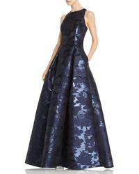 Aidan Mattox Sleeveless Jacquard Gown - Blue