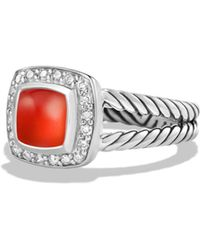 David Yurman - Petite Albion Ring With Carnelian And Diamonds - Lyst