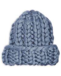 Echo Super Chunky Hand Knit Beanie - Blue