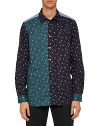 PS by Paul Smith Colorblocked Printed Shirt - Blue