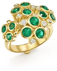 Temple St. Clair - 18k Yellow Gold Emerald And Diamond Cluster Trio Ring - Lyst