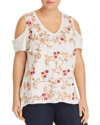 Lucky Brand - Floral-embroidered Cold-shoulder Top - Lyst