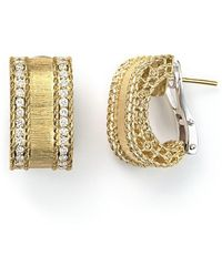 Roberto Coin - 18k Yellow Gold Diamond Satin Princess Earrings - Lyst