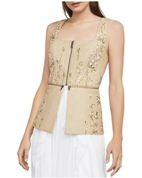 BCBGMAXAZRIA - Embroidered Faux Leather Peplum Top - Lyst