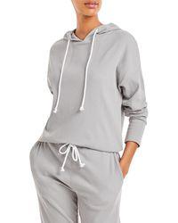 Aqua Athletic Ribbed Hoodie Sweatshirt - Grey