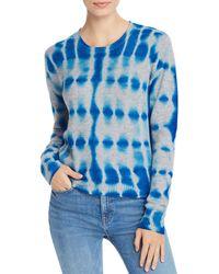 Aqua Cashmere Tie - Dye Cashmere Sweater - Blue