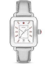 Michele Deco Diamond Sport Watch Head & Leather Strap Watch - Metallic