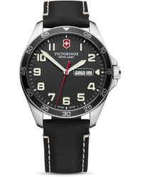 Victorinox Field Force Black Leather Strap Watch