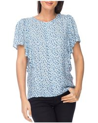 B Collection By Bobeau Women's Acacia Flutter Sleeve Top - Chambray - Size Xs - Blue