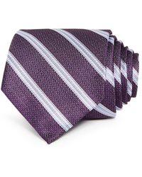 Bloomingdale's Fulton Textured Stripe Silk Classic Tie - Purple