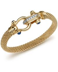 Bloomingdale's 14k Yellow Gold Beaded Mesh Bracelet With Diamond Clasp - Metallic