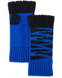 Aqua Tiger Fingerless Cashmere Gloves - Blue