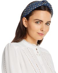 Lele Sadoughi Embellished Denim Knot Headband - Blue