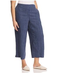 Eileen Fisher - Striped Linen Wide-leg Crop Trousers - Lyst