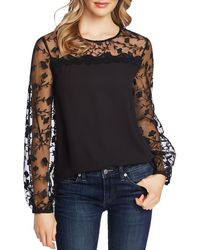 Cece Floral Embroidery Mixed Media Top - Black