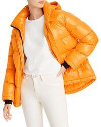 Aqua Short Hooded Puffer Coat - Orange