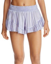 Surf Gypsy - Striped Ruffle Swim Cover-up Shorts - Lyst