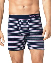 Tommy John Striped Boxer Briefs - Blue