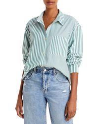 Pistola Millie Striped Cotton Shirt - Green