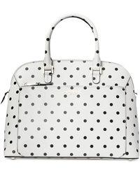 Kate Spade Medium Louise Cabana Dot Leather Dome Satchel - White