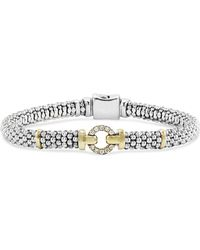 Lagos 18k Gold And Sterling Silver Caviar And Diamonds Rope Bracelet - Metallic