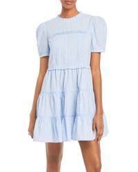 Aqua Clip Dot Dress - Blue