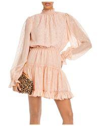 Aqua Metallic Clip Bar Dress - Pink
