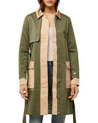 SOIA & KYO Marni Color Block Trench Coat - Green