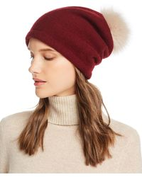 Helene Berman Fox Fur Pom - Pom Wool Beanie - Multicolour