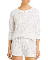 Aqua Pajama Shorts Set - White