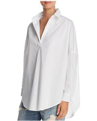 French Connection - Rhodes Oversize V-neck Poplin Shirt - Lyst