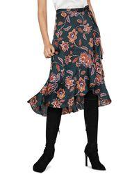 BCBGMAXAZRIA - Floral Midi Wrap Skirt - Lyst