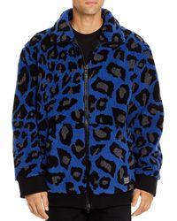 MSGM Giubbino Peacock Leopard - Print Sherpa Jacket - Blue