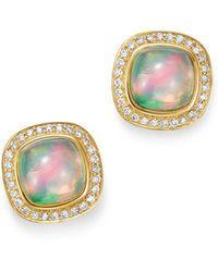 Bloomingdale's Ethiopian Opal & Diamond Stud Earrings In 14k Yellow Gold - Metallic