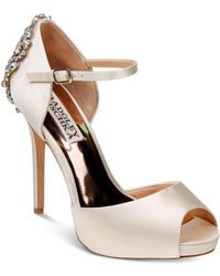 Badgley Mischka - Dawn Embellished Satin Ankle Strap High-heel Pumps - Lyst