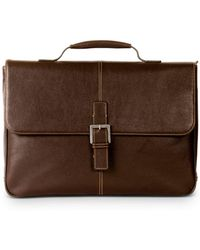 Boconi Tyler Leather Brokers Bag - Brown