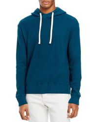 Monrow Cotton Blend Brushed Thermal Hoodie - Blue